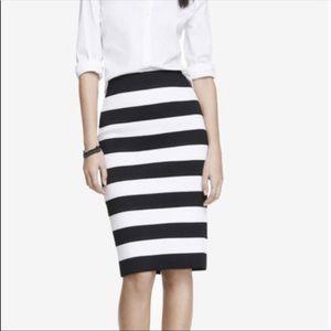 Express Black & White Stretch Striped Pencil Skirt
